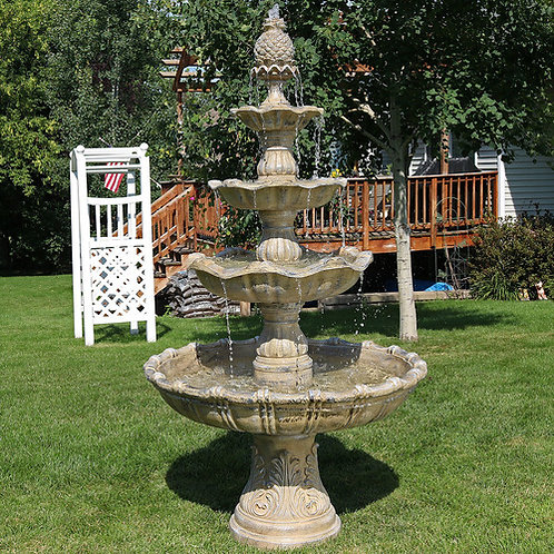 "Features of the 4-Tier Grand Courtyard Fountain:  43.5"" Diameter x 80"" H; weighs"