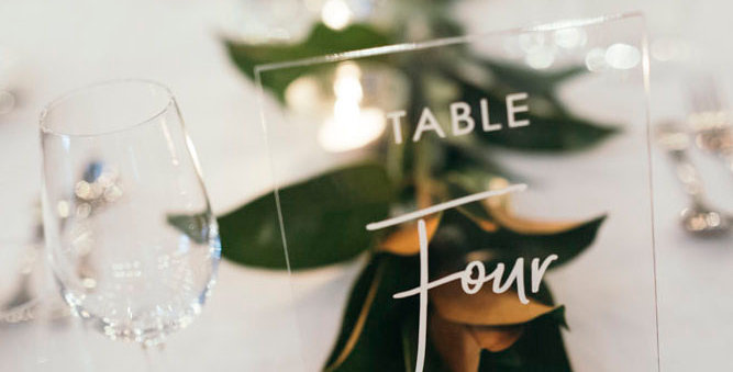 Wedding table numbers, engraved rectangle clear - The Laser Cutting Studio Geelong, Australia