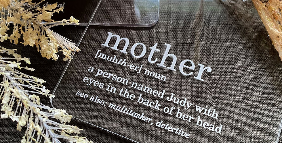 Mother's Day personalised gift coasters dictionary definition - The Laser Cutting Studio Geelong, Australia