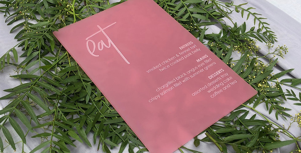 Wedding Menu, engraved pink - The Laser Cutting Studio Geelong, Australia