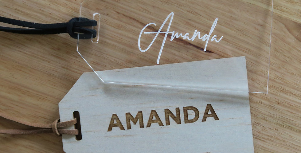 Timber, clear wedding luggage tag - The Laser Cutting Studio Geelong, Australia