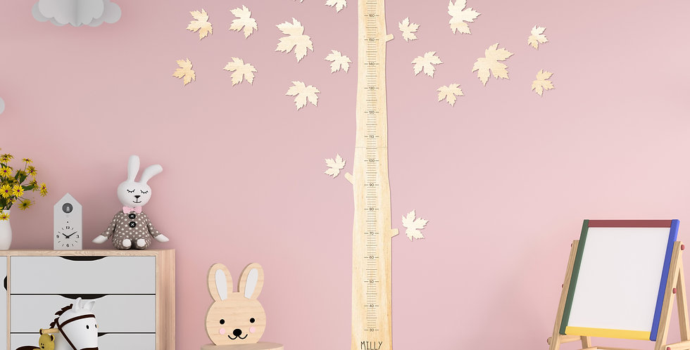 Maple tree engraved timber height chart kids nursery - The Laser Cutting Studio Geelong, Australia