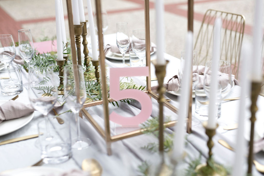 Frosted Pink Cut Table Number