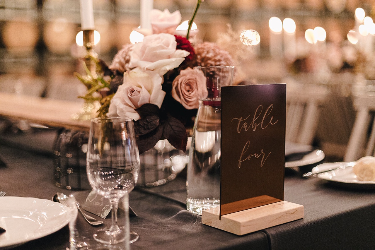 Engraved Table Number - Bronze Rose Gold