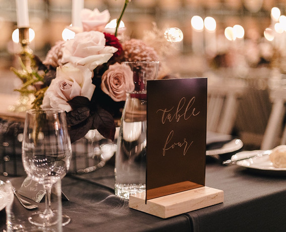 Engraved Table Number - Bronze Rose Gold