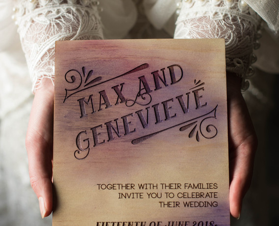 Engraved Timber Invitation