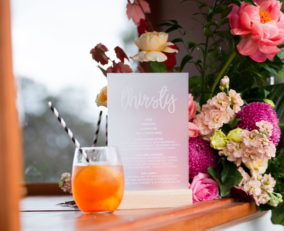 Engraved Frosted Bar Menu