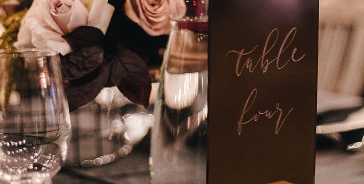 Wedding table numbers, engraved rectangle, bronze gold - The Laser Cutting Studio Geelong, Australia