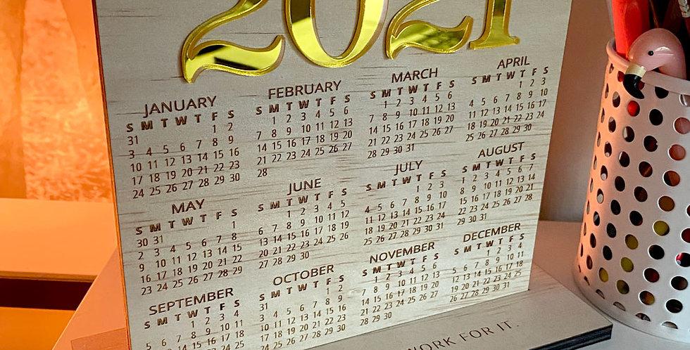 2021 desk calendar, timber engraved gold pastel - The Laser Cutting Studio Geelong, Australia