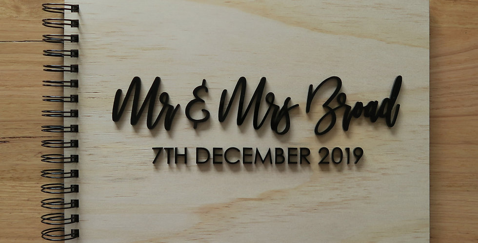 Wedding guest signing book, 3D text, black & timber - The Laser Cutting Studio Geelong, Australia