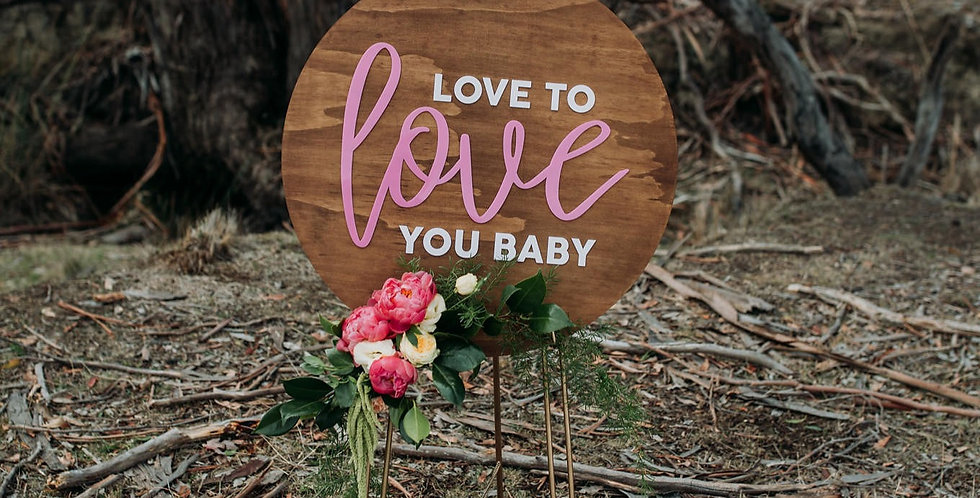 Timber, white and pink wedding sign, sale, love to love you baby - The Laser Cutting Studio Geelong, Australia