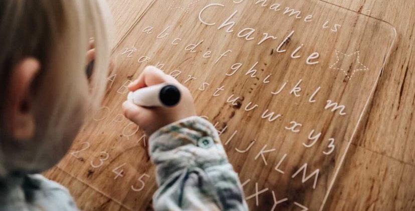 Kids alphabet learning board, handwriting practice - The Laser Cutting Studio Geelong, Australia