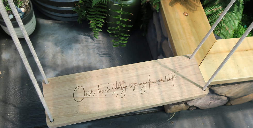 Engraved timber swing seat, wedding, sale - The Laser Cutting Studio Geelong, Australia