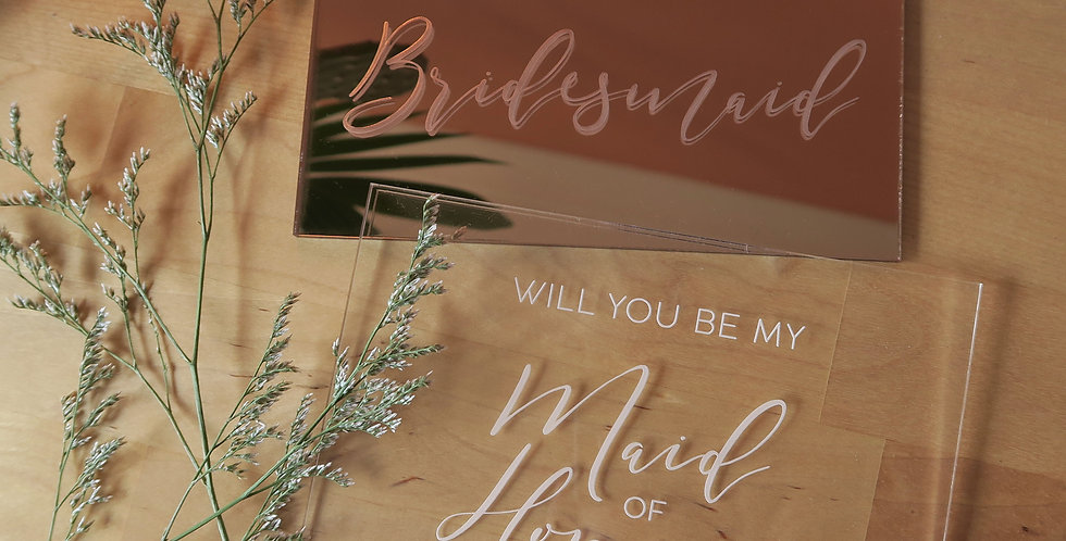 Engraved bridal party plaque gift, maid of honour, bridesmaid, rose gold, clear - The Laser Cutting Studio Geelong, Australia