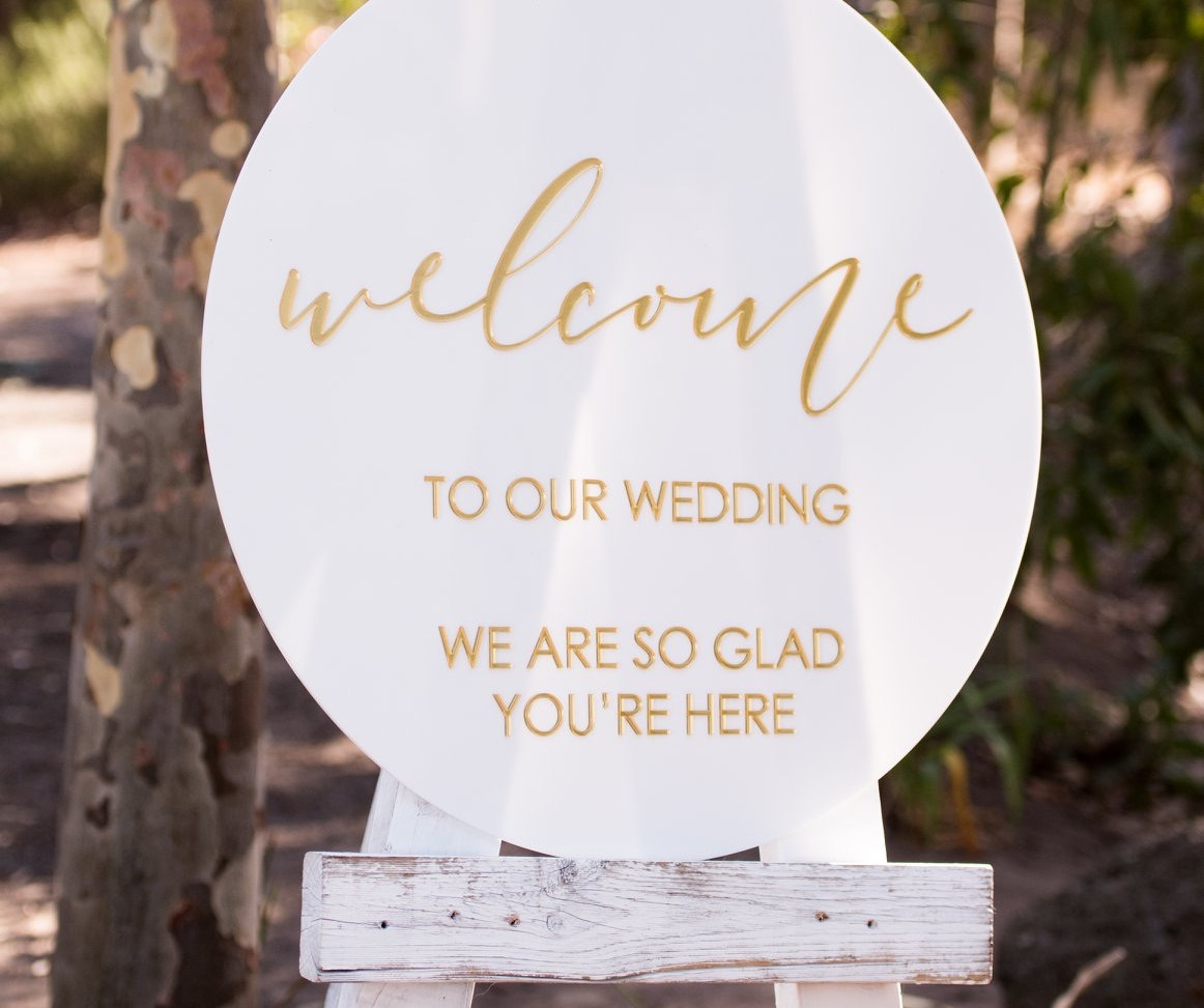 White & Gold Layered Sign