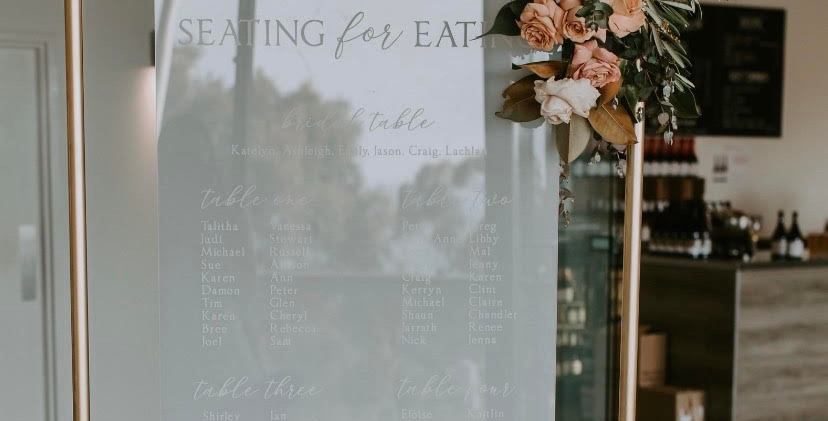 Wedding seating chart, engraved, frosted - The Laser Cutting Studio Geelong, Australia