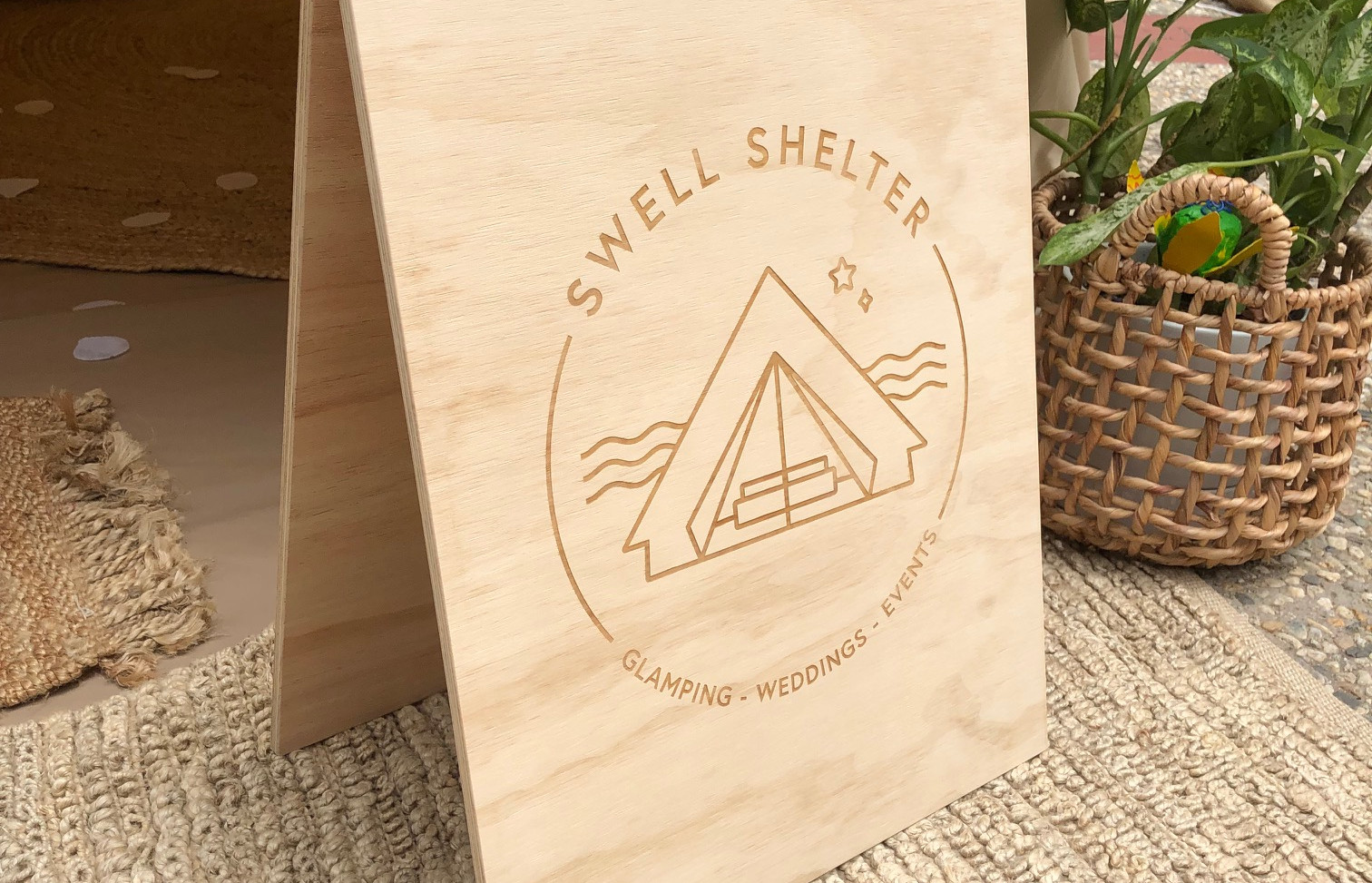 Engraved Timber A-Frame Sign