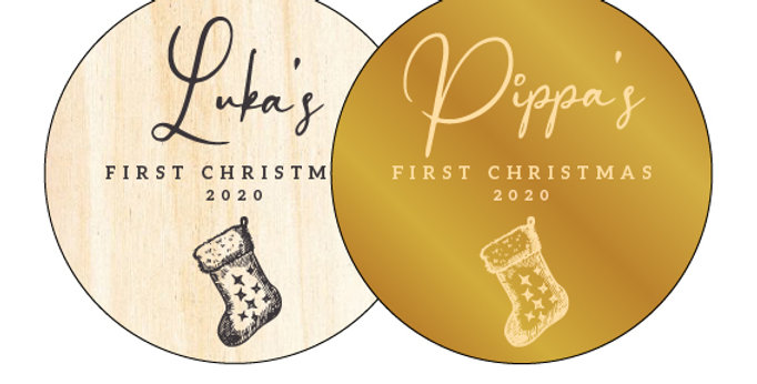Baby First Christmas Personalised Gift Bauble Made in Australia - The Laser Cutting Studio Geelong, Australia