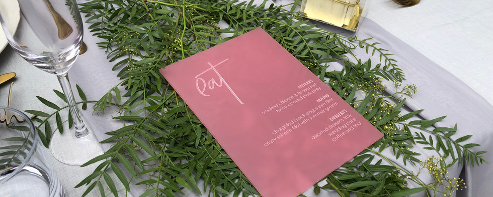 Engraved Frosted Pink Acrylic Menu
