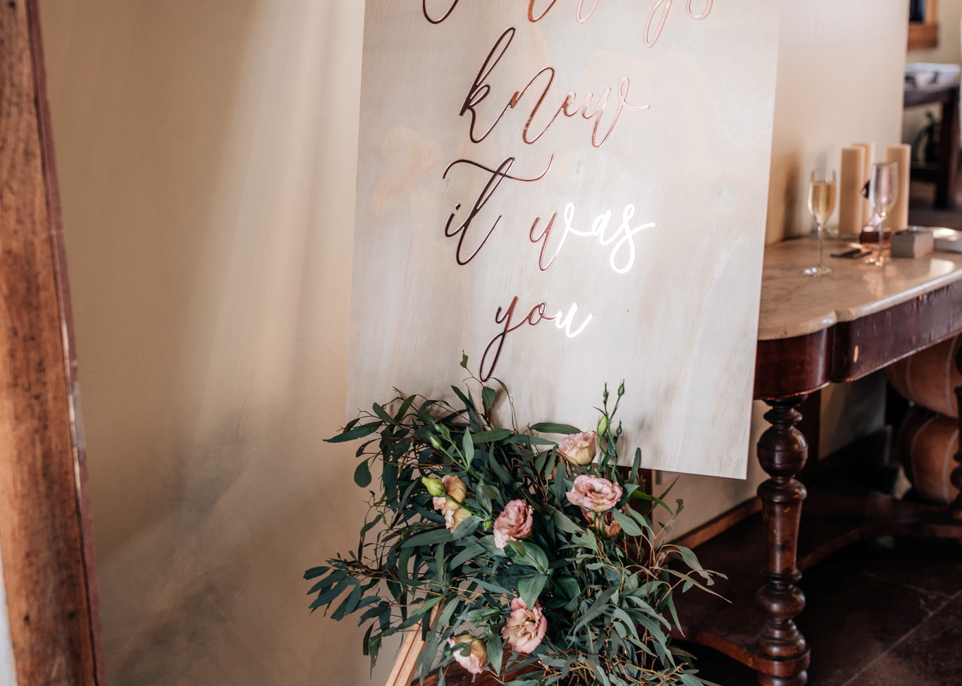 Timber & Rose Gold Sign