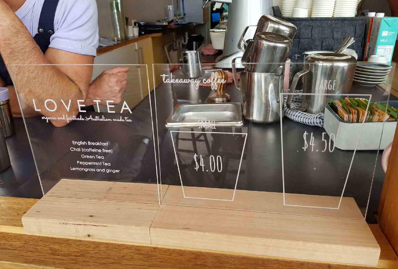 Engraved Cafe Menu