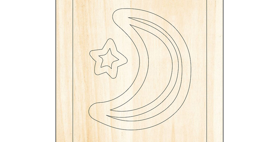 PIY Paint It Yourself Poster Moon Star Kids Room Nursery Artwork Boho - The Laser Cutting Studio Geelong, Australia