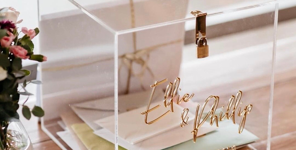 Wedding wishing well card box, clear, gold - The Laser Cutting Studio Geelong, Australia