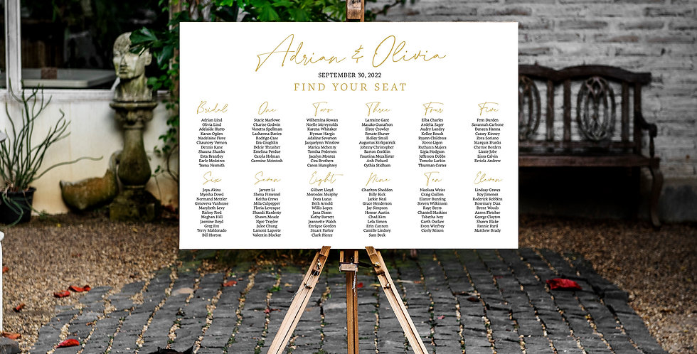 Wedding seating chart, printed full colour, foamcore - The Laser Cutting Studio Geelong, Australia