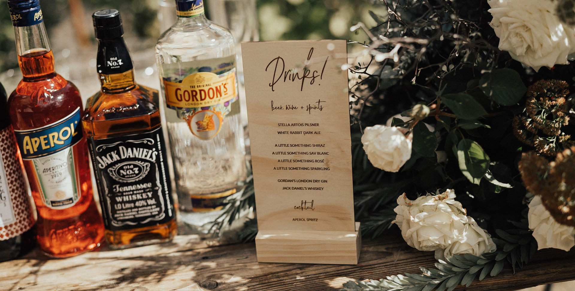 Engraved Timber Drink Menu