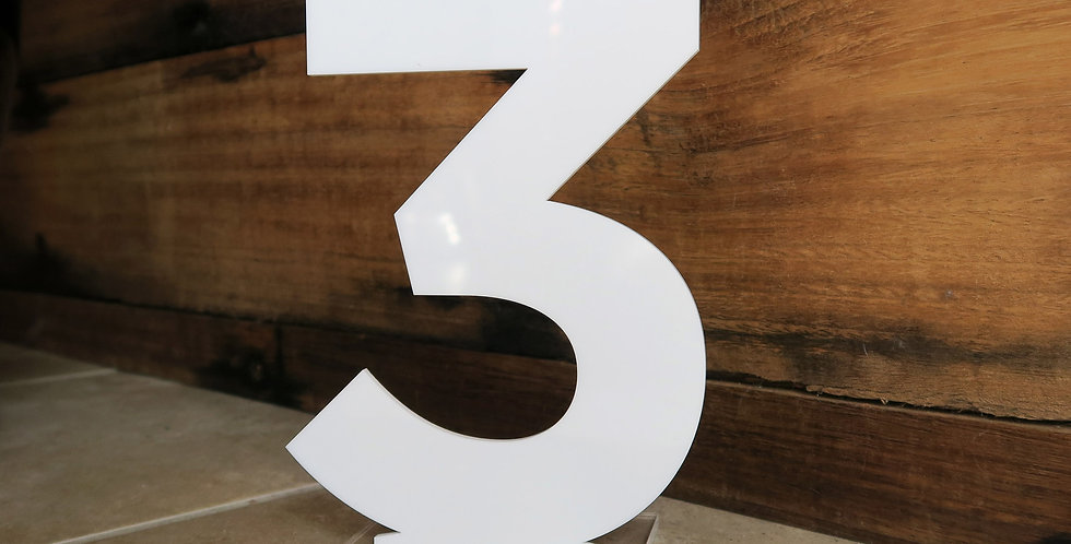 Wedding table number, white - The Laser Cutting Studio Geelong, Australia