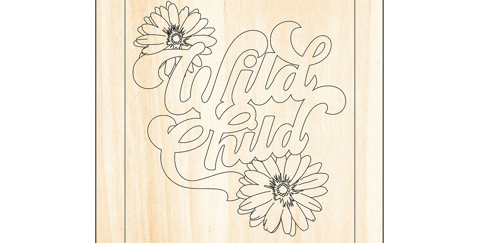 PIY Paint It Yourself Poster Wild Child Flowers Kids 70's Nursery Artwork Boho - The Laser Cutting Studio Geelong, Australia
