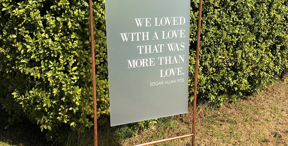Engraved frosted hanging quote sign, wedding, sale - The Laser Cutting Studio Geelong, Australia