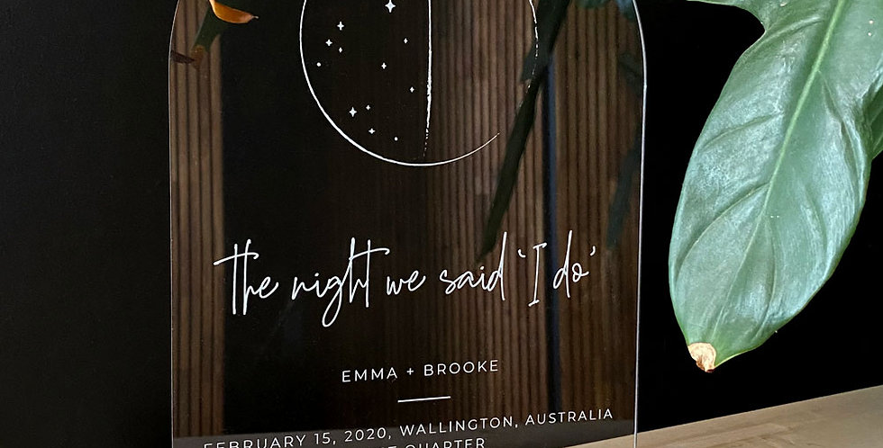 Couples moon plaque personalised gift valentines day wedding annivers, engraved - The Laser Cutting Studio Geelong, Australia