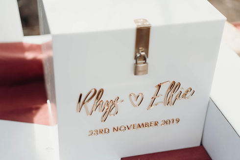 Wedding wishing well card box, white and gold - The Laser Cutting Studio Geelong, Australia