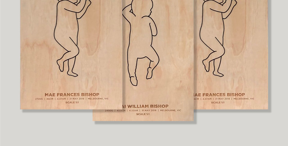 Birth scale plaque, baby size outline, birth details, triplets - The Laser Cutting Studio Geelong, Australia