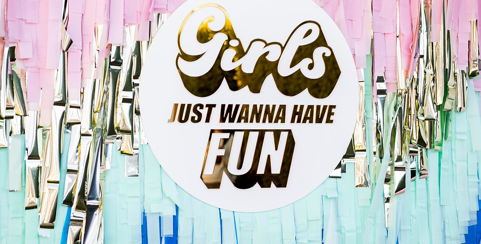 Hen's party sign, white and gold, girls just wanna have fun, sale - The Laser Cutting Studio Geelong, Australia