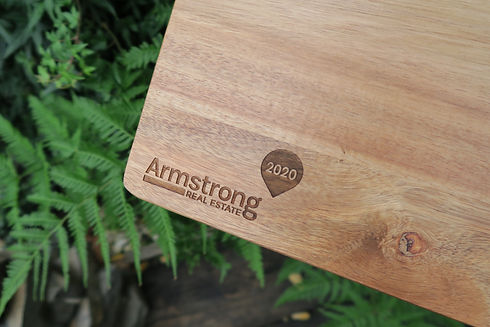 Company logo engraved, real estate - The Laser Cutting Studio Geelong, Australia