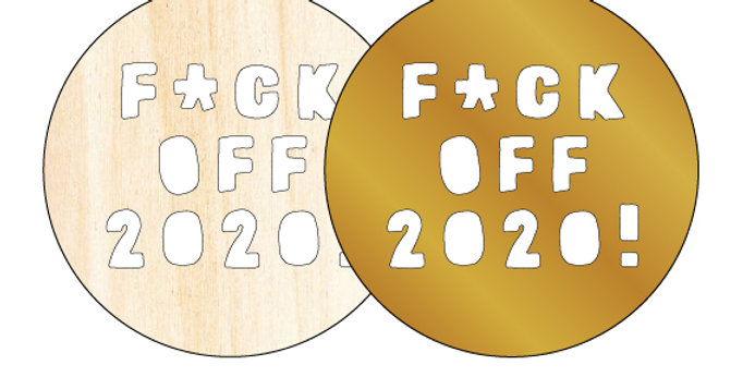 Personalised Gift Christmas Bauble Made in Australia F*ck Off 2020! Pastel Pink - The Laser Cutting Studio Geelong, Australia