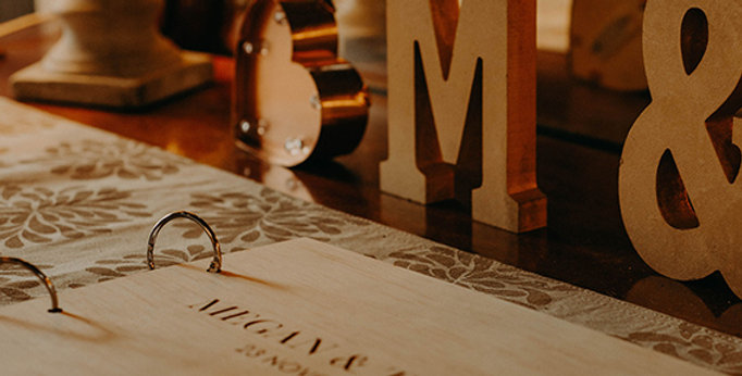 Wedding guest signing book, timber, engraved text - The Laser Cutting Studio Geelong, Australia