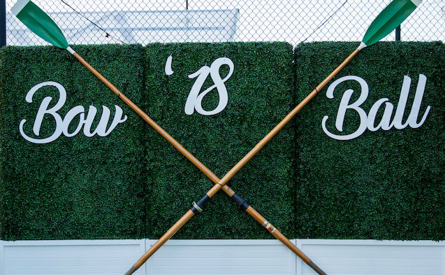 Bow Ball cut lettering sign