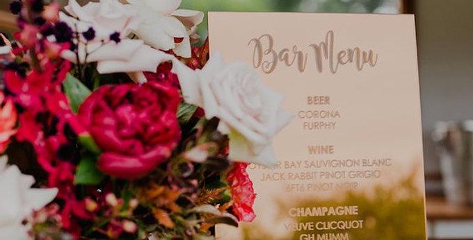Wedding Bar Menu, engraved bronze gold - The Laser Cutting Studio Geelong, Australia