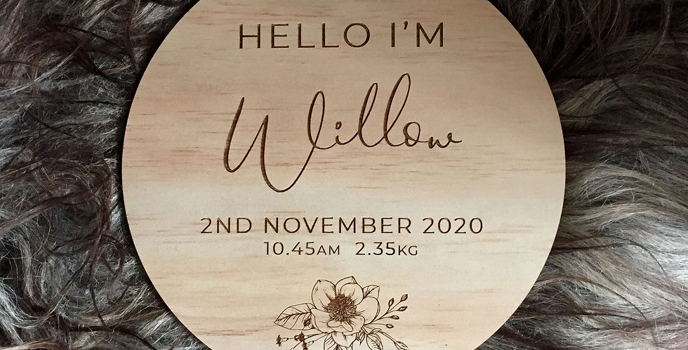 Engraved birth announcement sign, baby name, personalised gift - The Laser Cutting Studio Geelong, Australia