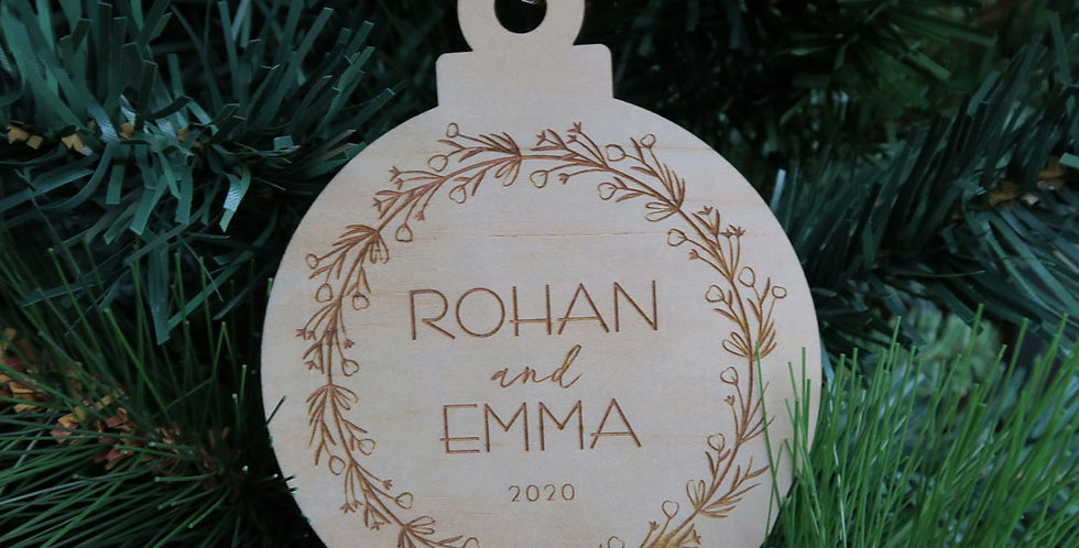 Couples Wreath Personalised Gift Christmas Bauble Made in Australia - The Laser Cutting Studio Geelong, Australia
