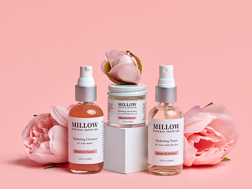 Hydrating Skin Care Set (3 Piece) with Rose