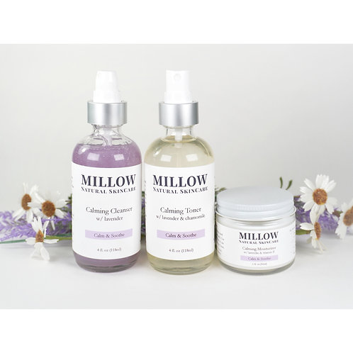 Calming Skin Care Set (3 Piece) with Lavender