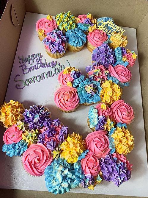 Pastel Cupcake Number Cake