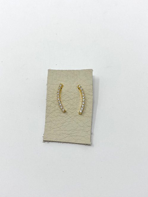 Gold pave curved bar studs