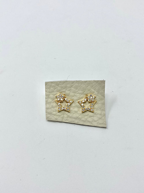 Gold double star pave studs