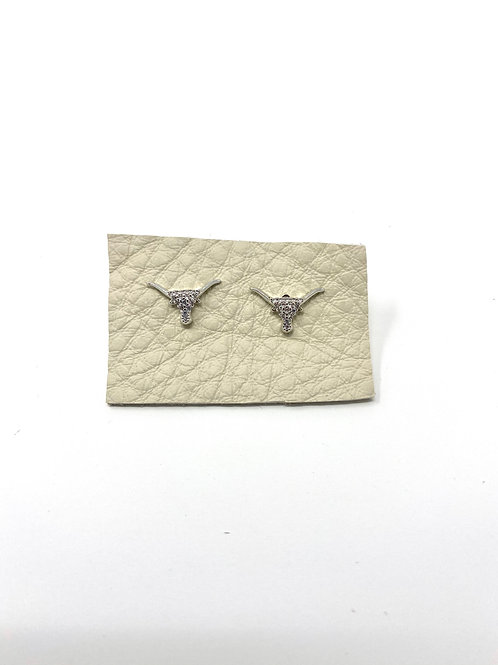 Silver pave longhorn studs