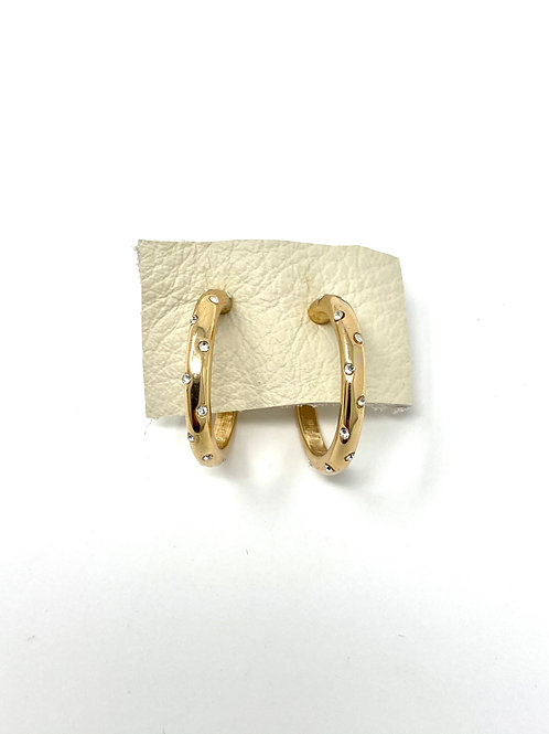 Gold pave dotted hoops